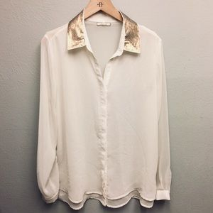 Cream blouse with gold sequin collar